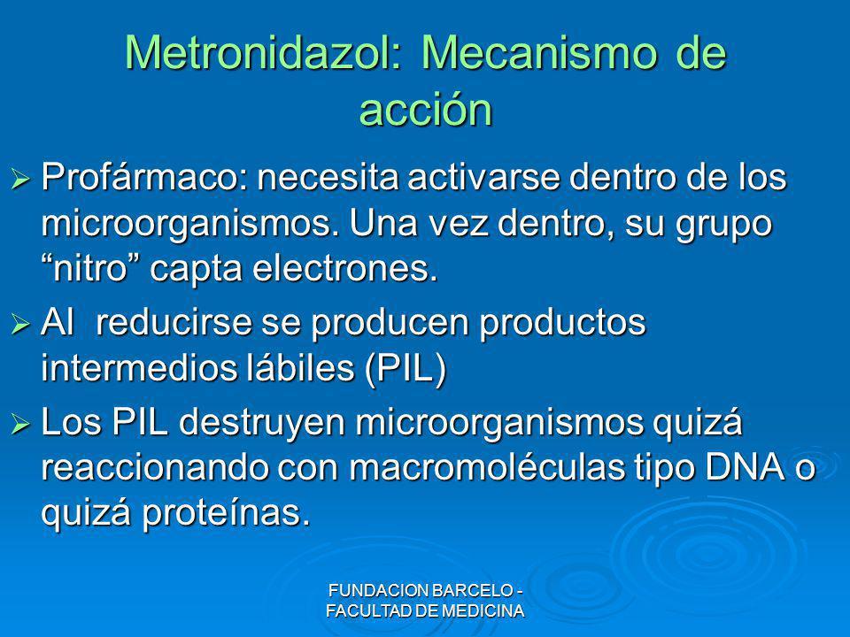 FUNDACION BARCELO - FACULTAD DE MEDICINA Metronidazol: Mecanismo de acción Profármaco: necesita activarse dentro de los microorganismos. Una vez dentr