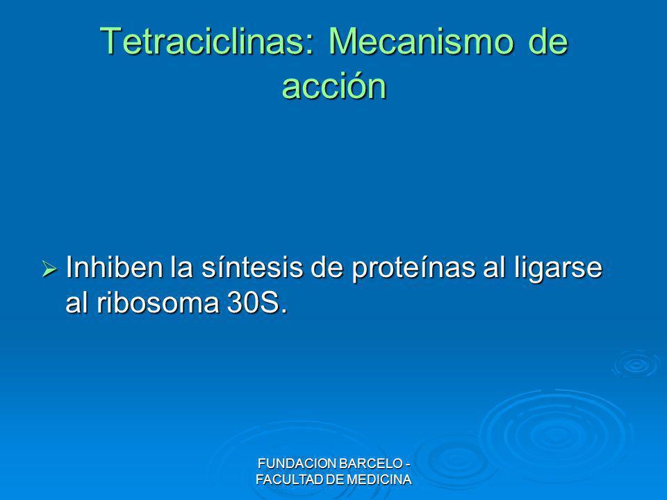FUNDACION BARCELO - FACULTAD DE MEDICINA Tetraciclinas: Mecanismo de acción Inhiben la síntesis de proteínas al ligarse al ribosoma 30S. Inhiben la sí