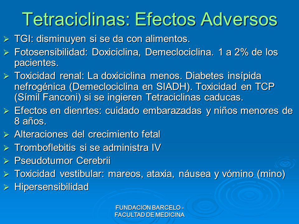 FUNDACION BARCELO - FACULTAD DE MEDICINA Tetraciclinas: Efectos Adversos TGI: disminuyen si se da con alimentos. TGI: disminuyen si se da con alimento
