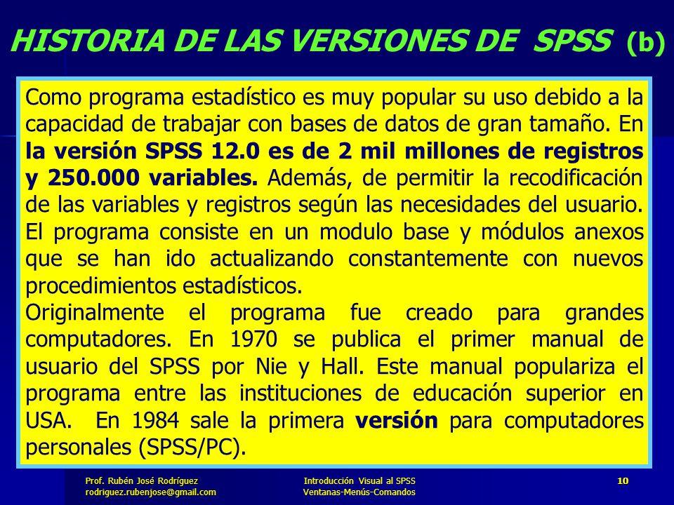Prof. José Rodríguez Prof. Rubén José Rodríguezrodriguez.rubenjose@gmail.com Introducción Visual al SPSS Ventanas-Menús-Comandos 10 HISTORIA DE LAS VE