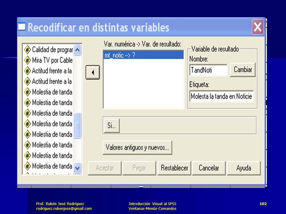 Prof. José Rodríguez Prof. Rubén José Rodríguezrodriguez.rubenjose@gmail.com Introducción Visual al SPSS Ventanas-Menús-Comandos 102