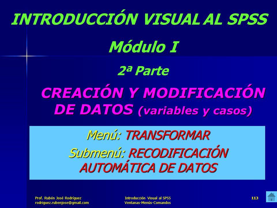 Prof. José Rodríguez Prof. Rubén José Rodríguezrodriguez.rubenjose@gmail.com Introducción Visual al SPSS Ventanas-Menús-Comandos 113 CREACIÓN Y MODIFI