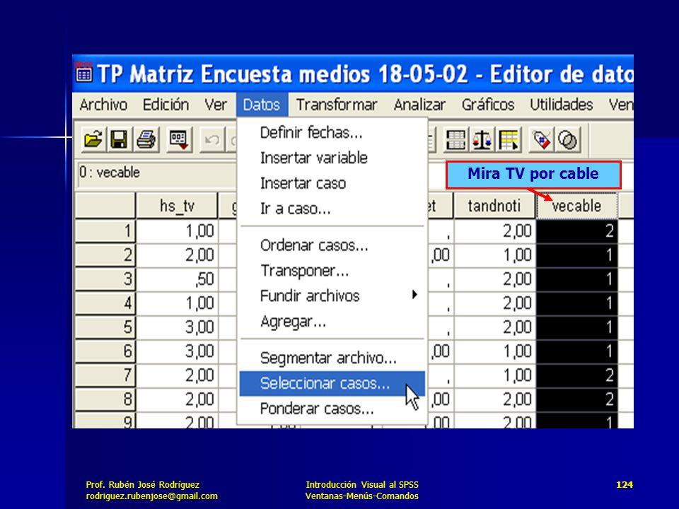 Prof. José Rodríguez Prof. Rubén José Rodríguezrodriguez.rubenjose@gmail.com Introducción Visual al SPSS Ventanas-Menús-Comandos 124 Mira TV por cable