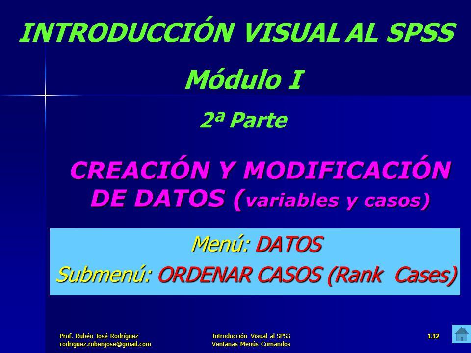 Prof. José Rodríguez Prof. Rubén José Rodríguezrodriguez.rubenjose@gmail.com Introducción Visual al SPSS Ventanas-Menús-Comandos 132 CREACIÓN Y MODIFI