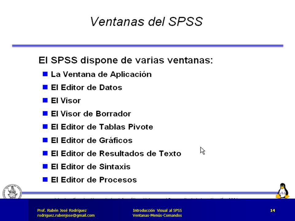 Prof. José Rodríguez Prof. Rubén José Rodríguezrodriguez.rubenjose@gmail.com Introducción Visual al SPSS Ventanas-Menús-Comandos 14