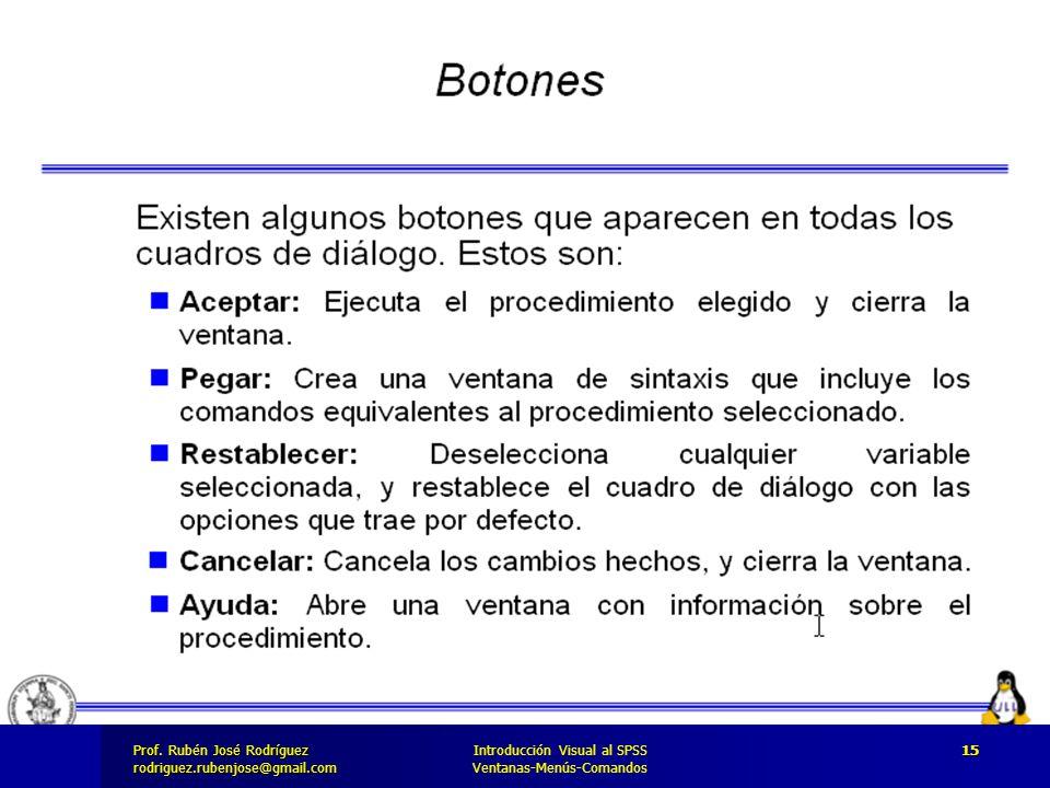 Prof. José Rodríguez Prof. Rubén José Rodríguezrodriguez.rubenjose@gmail.com Introducción Visual al SPSS Ventanas-Menús-Comandos 15