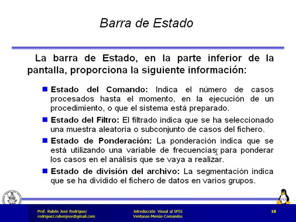 Prof. José Rodríguez Prof. Rubén José Rodríguezrodriguez.rubenjose@gmail.com Introducción Visual al SPSS Ventanas-Menús-Comandos 18