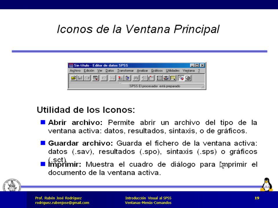 Prof. José Rodríguez Prof. Rubén José Rodríguezrodriguez.rubenjose@gmail.com Introducción Visual al SPSS Ventanas-Menús-Comandos 19