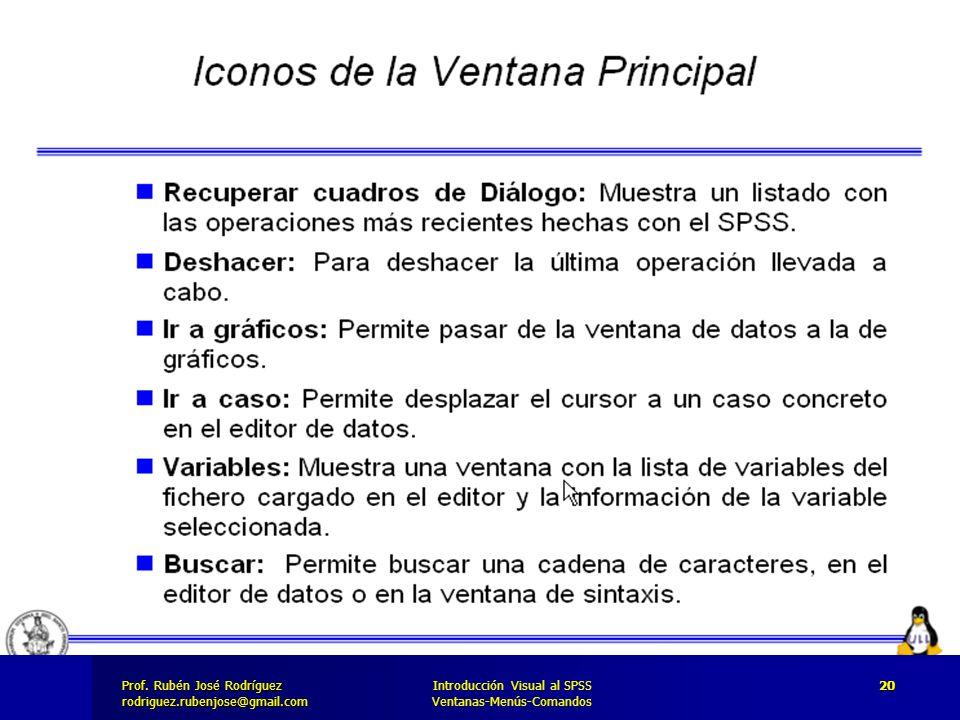 Prof. José Rodríguez Prof. Rubén José Rodríguezrodriguez.rubenjose@gmail.com Introducción Visual al SPSS Ventanas-Menús-Comandos 20