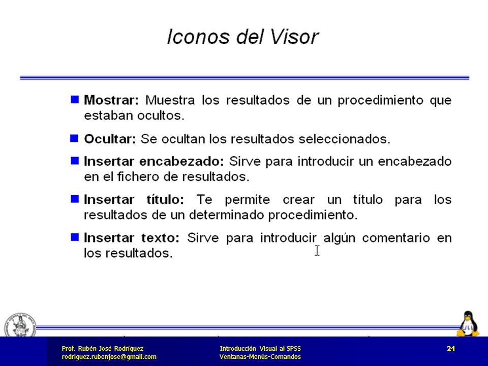 Prof. José Rodríguez Prof. Rubén José Rodríguezrodriguez.rubenjose@gmail.com Introducción Visual al SPSS Ventanas-Menús-Comandos 24