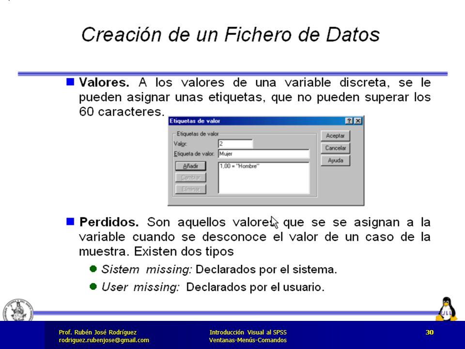 Prof. José Rodríguez Prof. Rubén José Rodríguezrodriguez.rubenjose@gmail.com Introducción Visual al SPSS Ventanas-Menús-Comandos 30