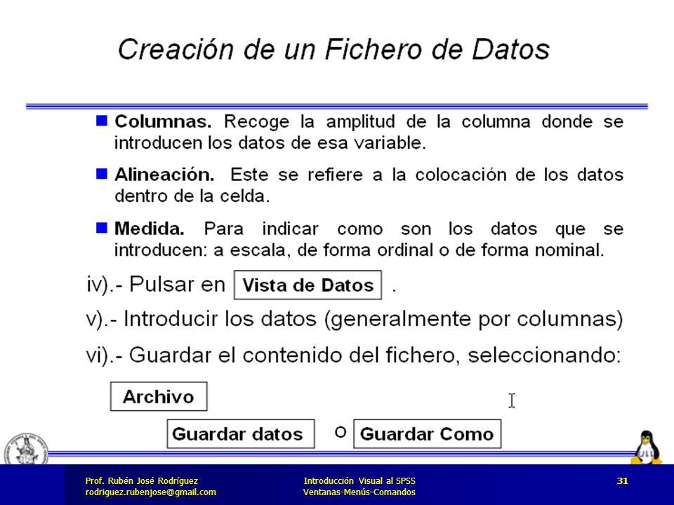 Prof. José Rodríguez Prof. Rubén José Rodríguezrodriguez.rubenjose@gmail.com Introducción Visual al SPSS Ventanas-Menús-Comandos 31