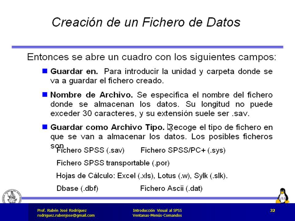 Prof. José Rodríguez Prof. Rubén José Rodríguezrodriguez.rubenjose@gmail.com Introducción Visual al SPSS Ventanas-Menús-Comandos 32