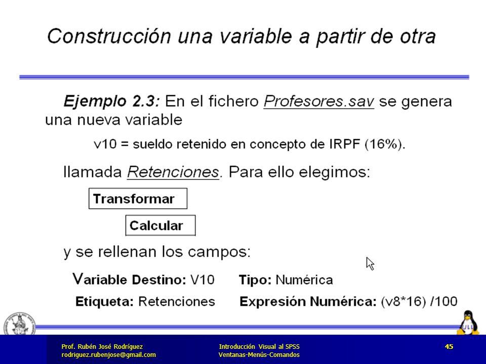 Prof. José Rodríguez Prof. Rubén José Rodríguezrodriguez.rubenjose@gmail.com Introducción Visual al SPSS Ventanas-Menús-Comandos 45