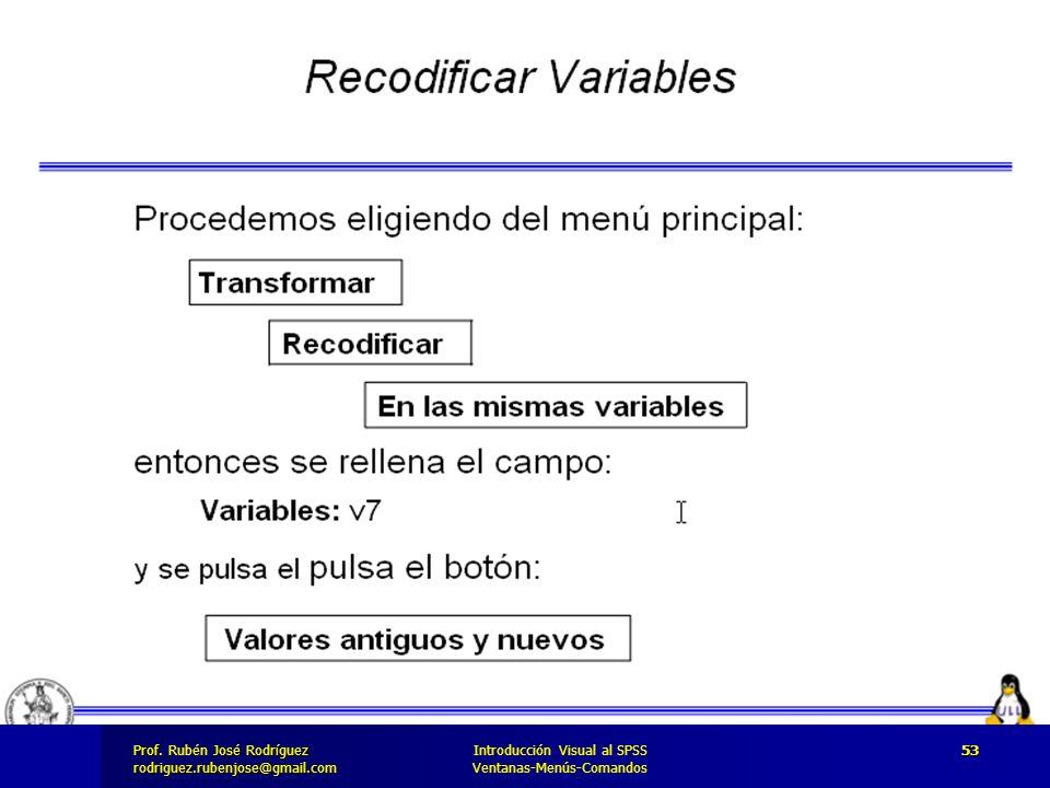 Prof. José Rodríguez Prof. Rubén José Rodríguezrodriguez.rubenjose@gmail.com Introducción Visual al SPSS Ventanas-Menús-Comandos 53