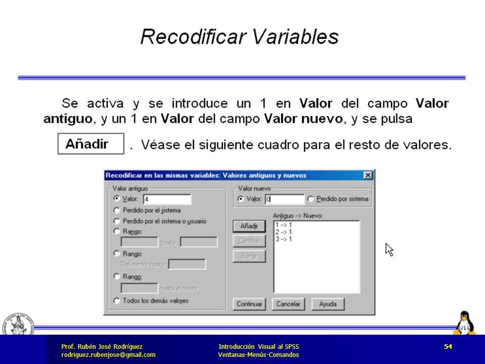 Prof. José Rodríguez Prof. Rubén José Rodríguezrodriguez.rubenjose@gmail.com Introducción Visual al SPSS Ventanas-Menús-Comandos 54