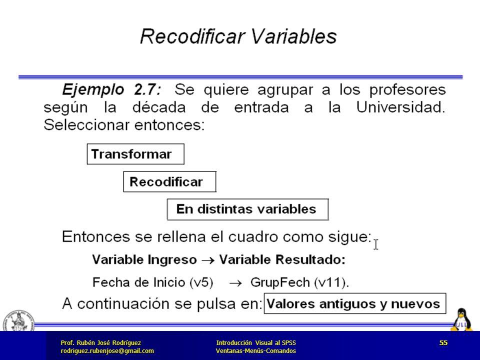 Prof. José Rodríguez Prof. Rubén José Rodríguezrodriguez.rubenjose@gmail.com Introducción Visual al SPSS Ventanas-Menús-Comandos 55