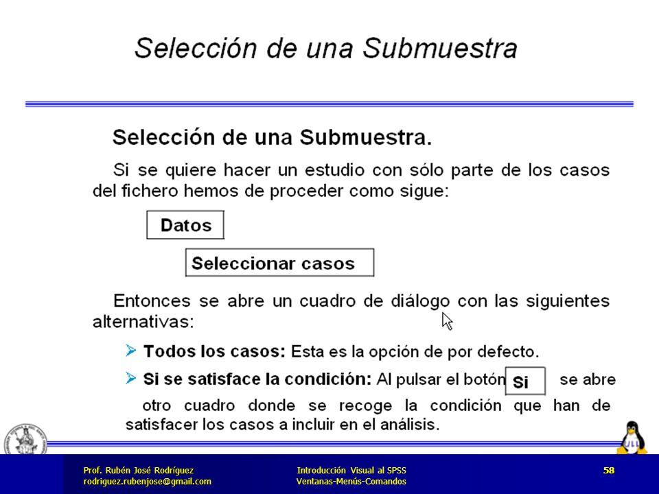 Prof. José Rodríguez Prof. Rubén José Rodríguezrodriguez.rubenjose@gmail.com Introducción Visual al SPSS Ventanas-Menús-Comandos 58