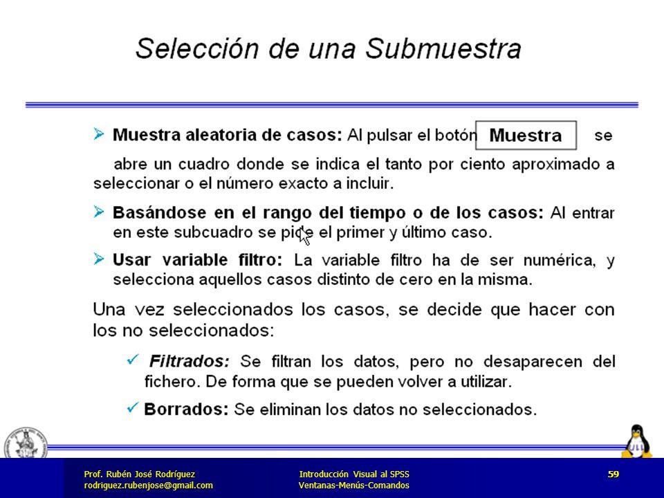 Prof. José Rodríguez Prof. Rubén José Rodríguezrodriguez.rubenjose@gmail.com Introducción Visual al SPSS Ventanas-Menús-Comandos 59