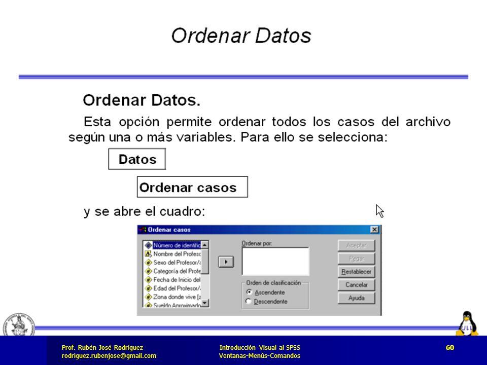 Prof. José Rodríguez Prof. Rubén José Rodríguezrodriguez.rubenjose@gmail.com Introducción Visual al SPSS Ventanas-Menús-Comandos 60