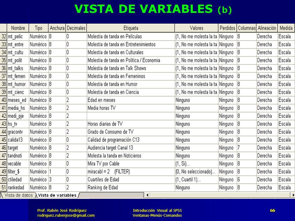 Prof. José Rodríguez Prof. Rubén José Rodríguezrodriguez.rubenjose@gmail.com Introducción Visual al SPSS Ventanas-Menús-Comandos 66 VISTA DE VARIABLES