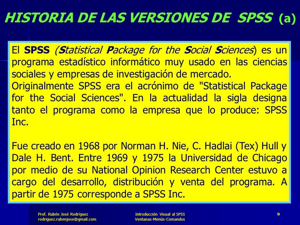 Prof. José Rodríguez Prof. Rubén José Rodríguezrodriguez.rubenjose@gmail.com Introducción Visual al SPSS Ventanas-Menús-Comandos 9 HISTORIA DE LAS VER
