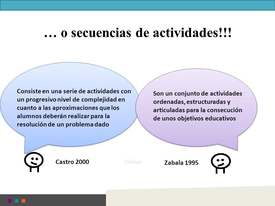 Castro 2000 Zabala 1995 … o secuencias de actividades!!! Diálogo Son un conjunto de actividades ordenadas, estructuradas y articuladas para la consecu