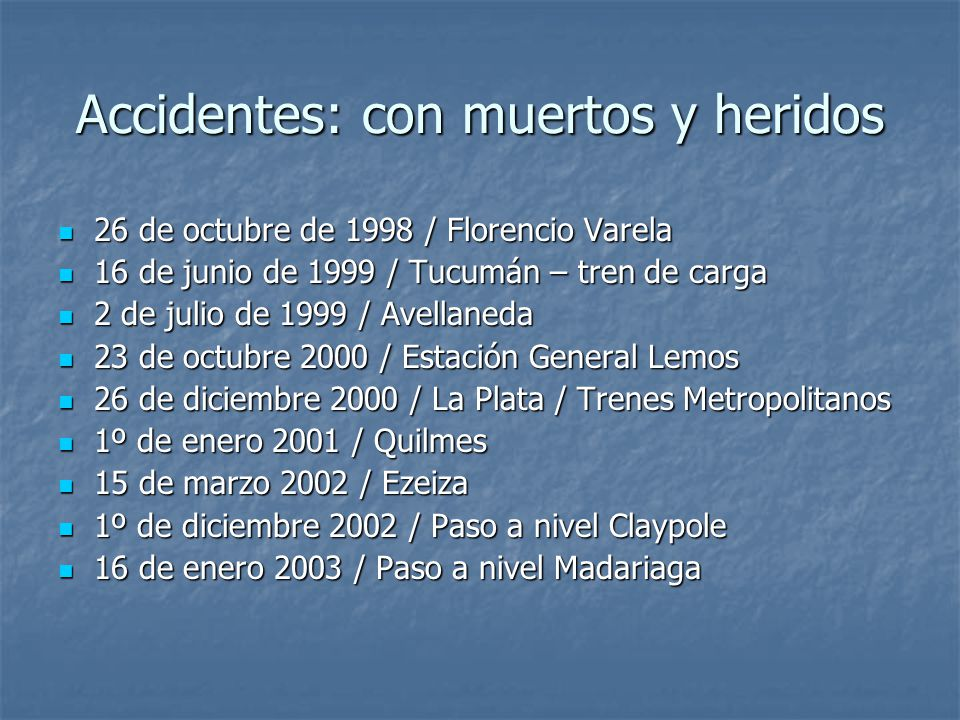 VÍCTIMAS DE LAS CONCESIONES accidentes 6 de octubre de 1991 / Estrella del Norte6 de octubre de 1991 / Estrella del Norte 7 de enero de 1994 / Tafí Viejo7 de enero de 1994 / Tafí Viejo 30 de septiembre de 1995 / Tucumán30 de septiembre de 1995 / Tucumán 30 de julio de 1996 / Bahía Blanca30 de julio de 1996 / Bahía Blanca 9 de agosto de 1996 / Ruta 3159 de agosto de 1996 / Ruta 315 18 de diciembre de 1997 / Rosario18 de diciembre de 1997 / Rosario 4 de enero de 1998 / Ramal Merlo – Lobos4 de enero de 1998 / Ramal Merlo – Lobos 16 de marzo de 1998 / TBA Sarmiento16 de marzo de 1998 / TBA Sarmiento 25 de mayo de 1998 / Paso a nivel Florencio Varela25 de mayo de 1998 / Paso a nivel Florencio Varela