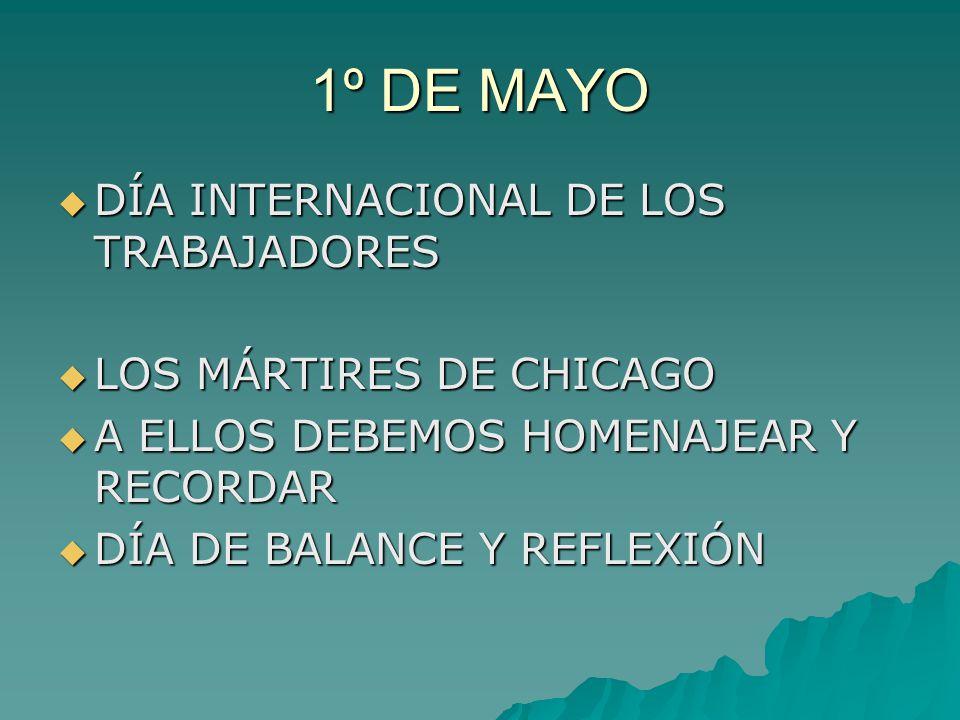 1º DE MAYO DÍA INTERNACIONAL DE LOS TRABAJADORES DÍA INTERNACIONAL DE LOS TRABAJADORES LOS MÁRTIRES DE CHICAGO LOS MÁRTIRES DE CHICAGO A ELLOS DEBEMOS HOMENAJEAR Y RECORDAR A ELLOS DEBEMOS HOMENAJEAR Y RECORDAR DÍA DE BALANCE Y REFLEXIÓN DÍA DE BALANCE Y REFLEXIÓN