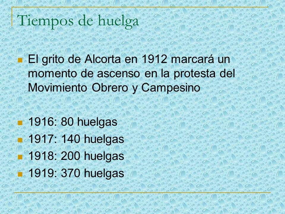 Tiempos de huelga El grito de Alcorta en 1912 marcará un momento de ascenso en la protesta del Movimiento Obrero y Campesino 1916: 80 huelgas 1917: 140 huelgas 1918: 200 huelgas 1919: 370 huelgas