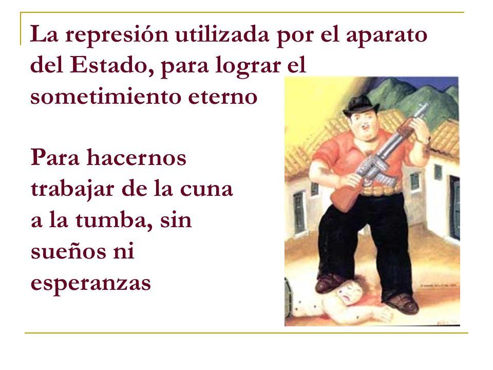 La represión utilizada por el aparato del Estado, para lograr el sometimiento eterno Para hacernos trabajar de la cuna a la tumba, sin sueños ni esperanzas