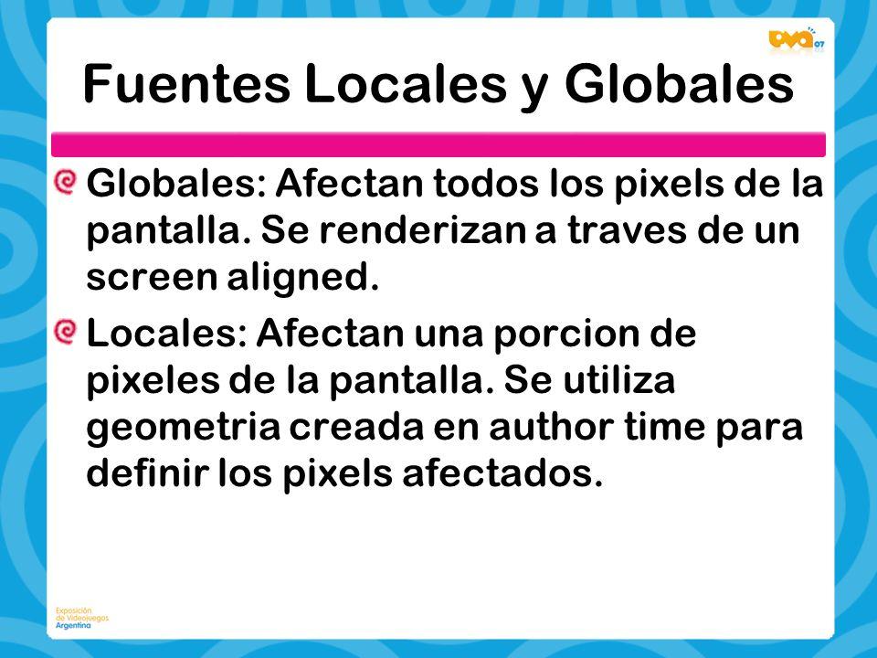 Fuentes Locales y Globales Globales: Afectan todos los pixels de la pantalla. Se renderizan a traves de un screen aligned. Locales: Afectan una porcio
