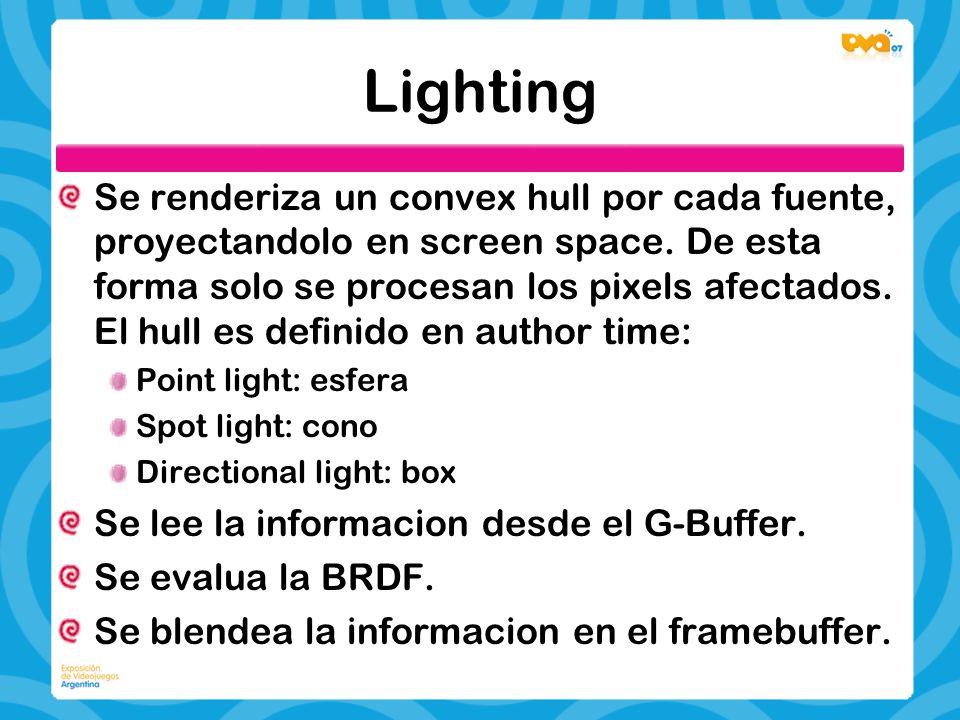 Lighting Se renderiza un convex hull por cada fuente, proyectandolo en screen space. De esta forma solo se procesan los pixels afectados. El hull es d