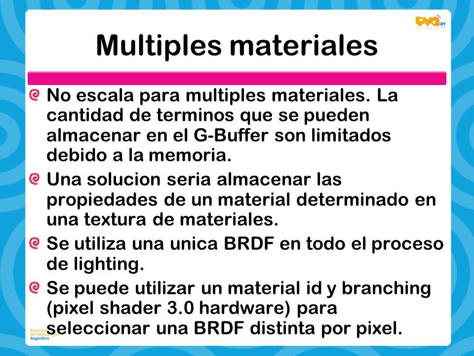 Multiples materiales No escala para multiples materiales. La cantidad de terminos que se pueden almacenar en el G-Buffer son limitados debido a la mem