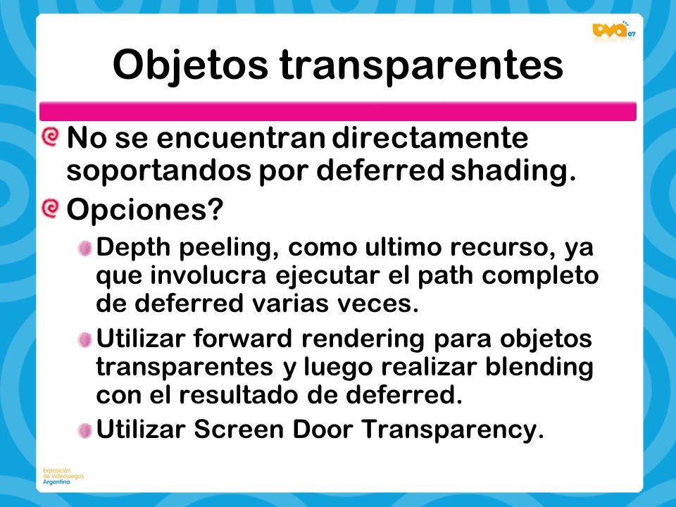 Objetos transparentes No se encuentran directamente soportandos por deferred shading. Opciones? Depth peeling, como ultimo recurso, ya que involucra e