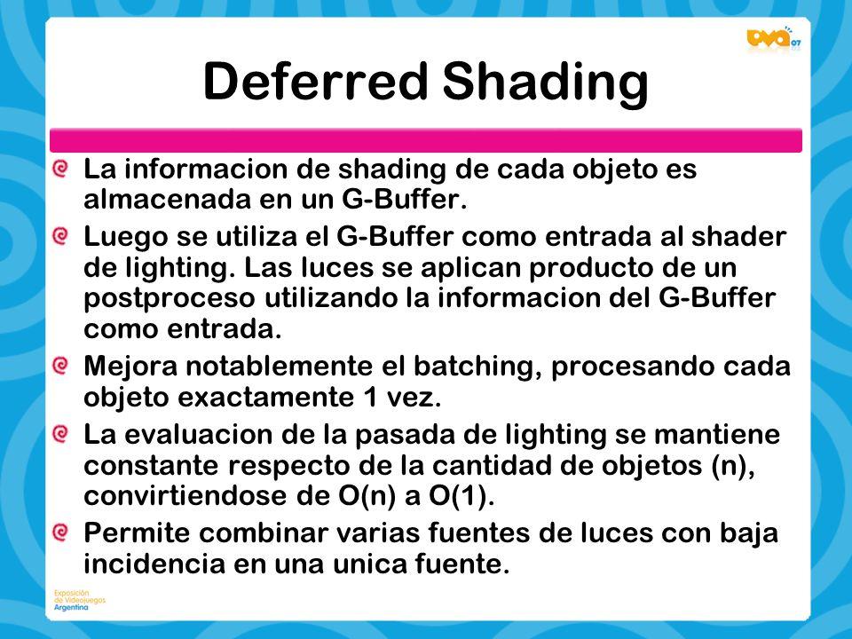 Deferred Shading La informacion de shading de cada objeto es almacenada en un G-Buffer. Luego se utiliza el G-Buffer como entrada al shader de lightin