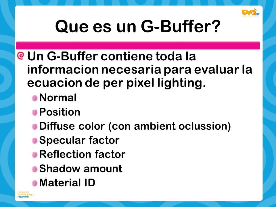 Que es un G-Buffer? Un G-Buffer contiene toda la informacion necesaria para evaluar la ecuacion de per pixel lighting. Normal Position Diffuse color (