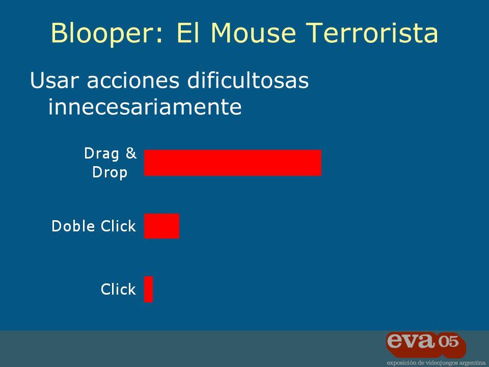 Usar acciones dificultosas innecesariamente Blooper: El Mouse Terrorista