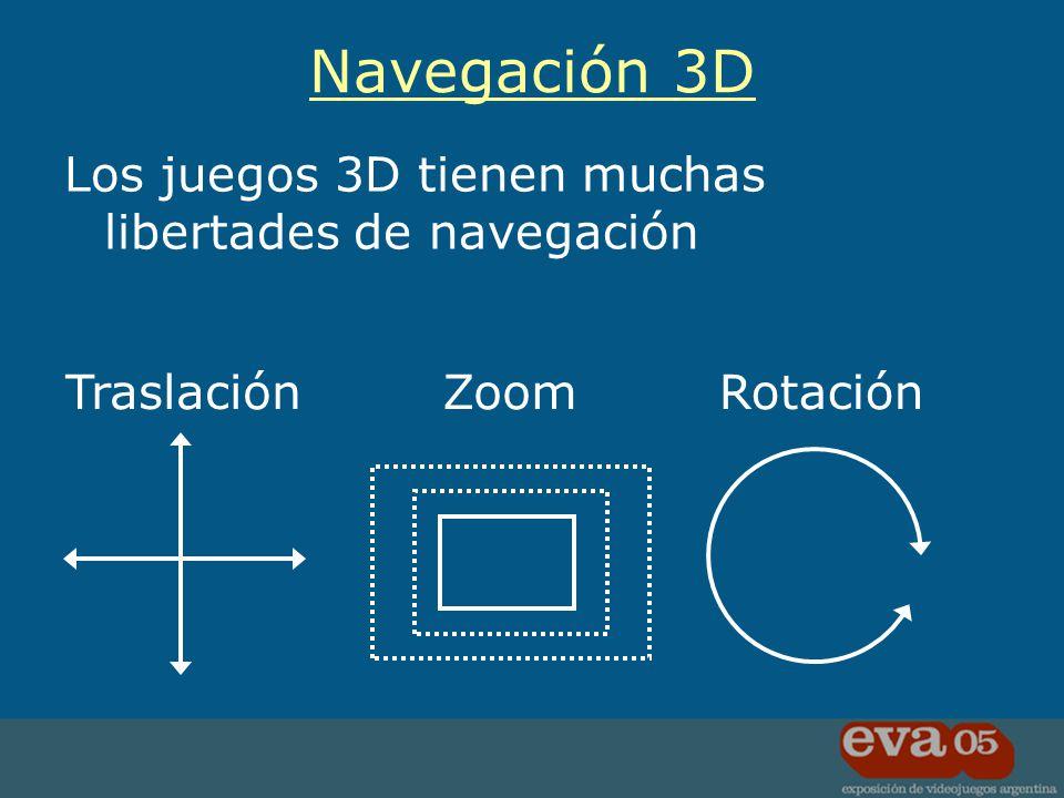 Los juegos 3D tienen muchas libertades de navegación Navegación 3D TraslaciónZoomRotación