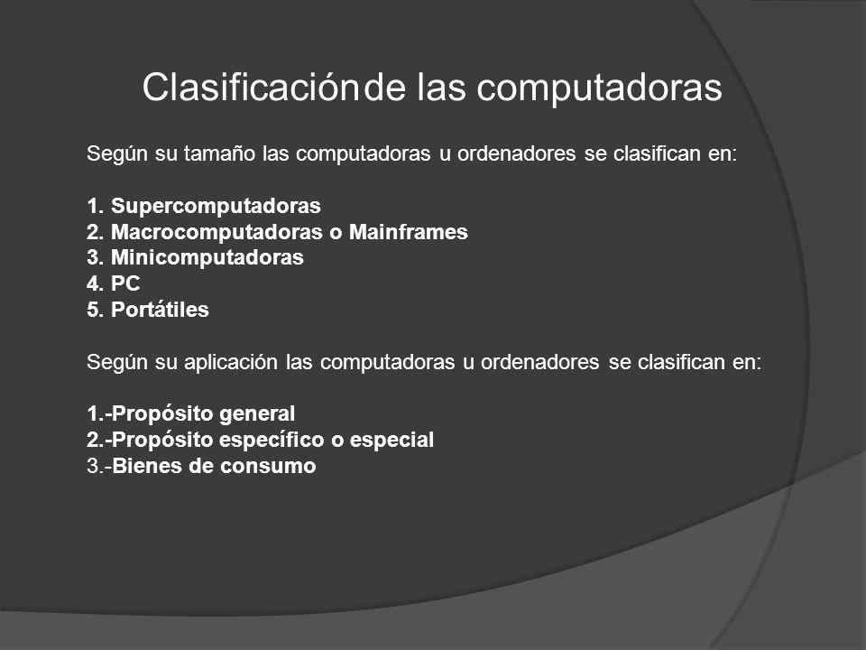 Según su tamaño las computadoras u ordenadores se clasifican en: 1. Supercomputadoras 2. Macrocomputadoras o Mainframes 3. Minicomputadoras 4. PC 5. P