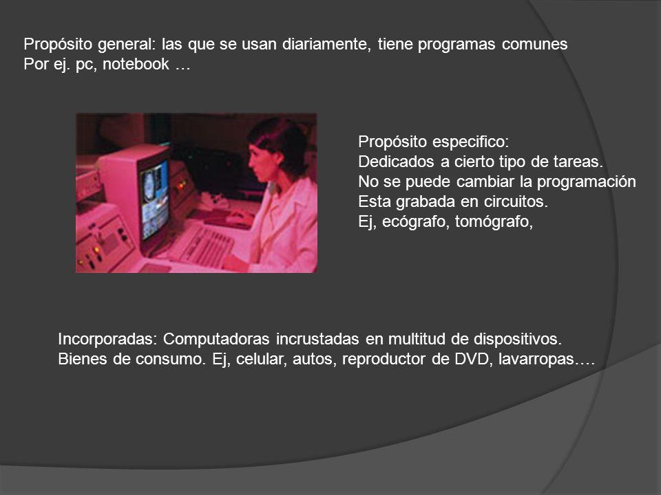 Propósito general: las que se usan diariamente, tiene programas comunes Por ej. pc, notebook … Propósito especifico: Dedicados a cierto tipo de tareas