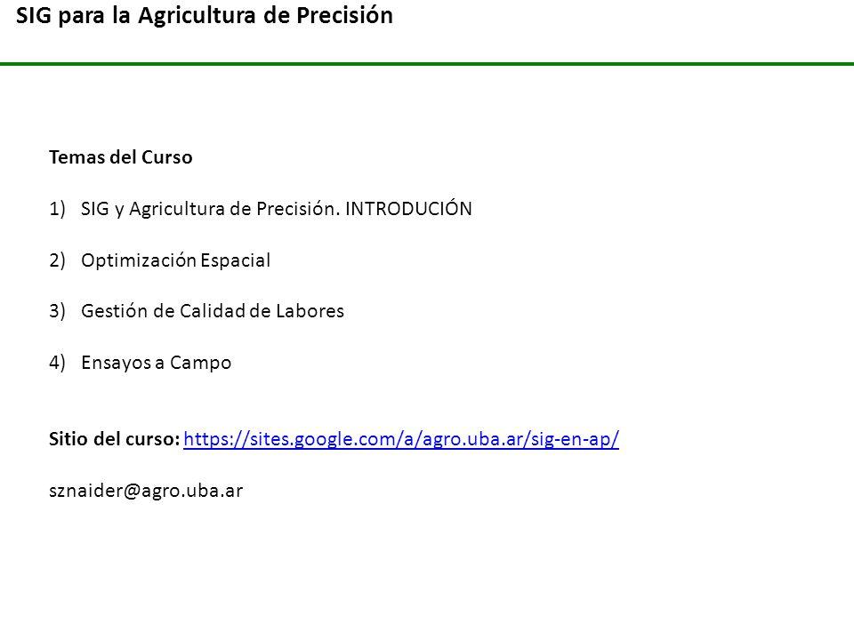 SIG para la Agricultura de Precisión Temas del Curso 1)SIG y Agricultura de Precisión. INTRODUCIÓN 2)Optimización Espacial 3)Gestión de Calidad de Lab