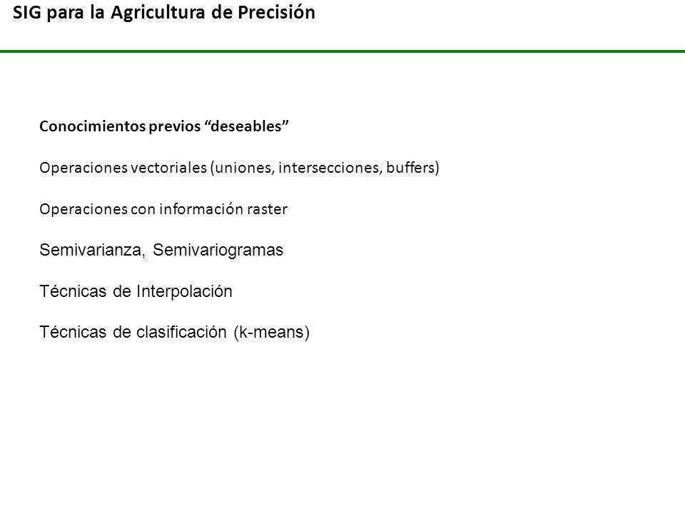 SIG para la Agricultura de Precisión Conocimientos previos deseables Operaciones vectoriales (uniones, intersecciones, buffers) Operaciones con inform