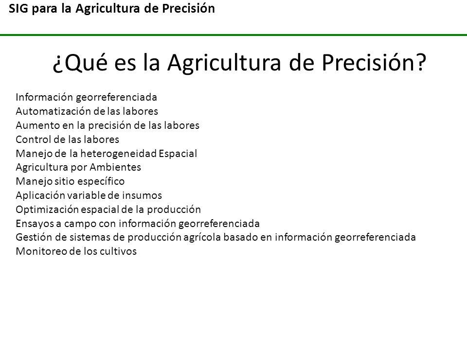 SIG para la Agricultura de Precisión ¿Qué es la Agricultura de Precisión? Información georreferenciada Automatización de las labores Aumento en la pre