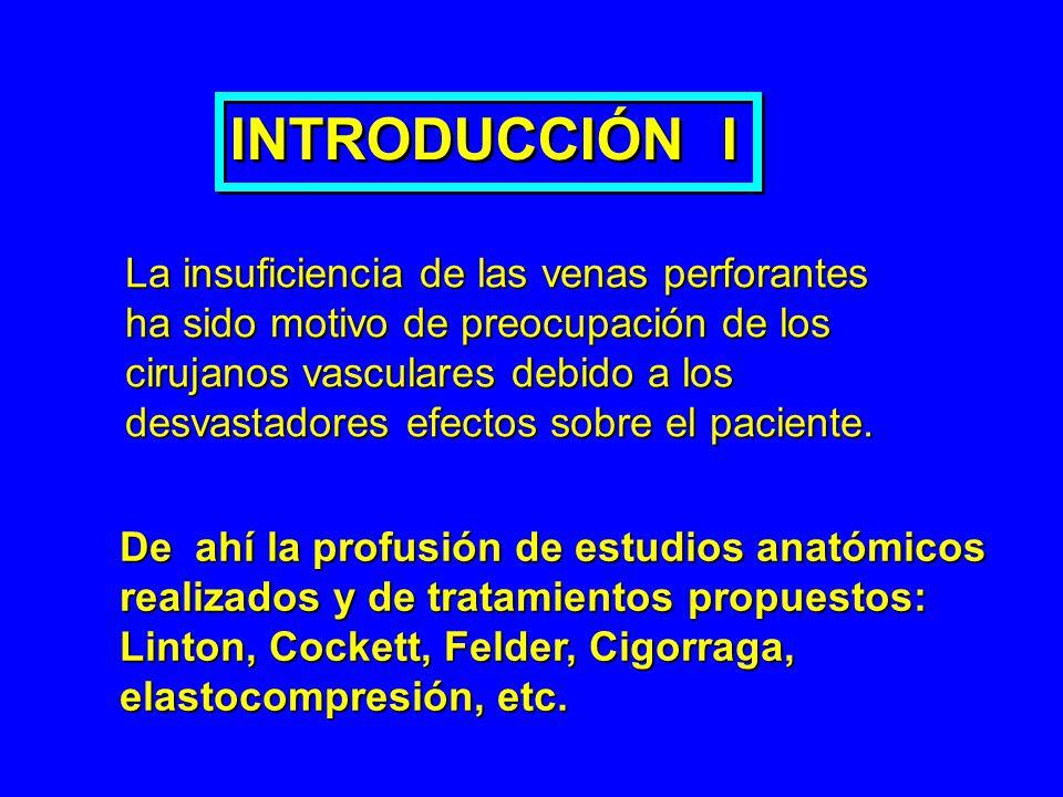INTRODUCCIÓN I La insuficiencia de las venas perforantes ha sido motivo de preocupación de los cirujanos vasculares debido a los desvastadores efectos
