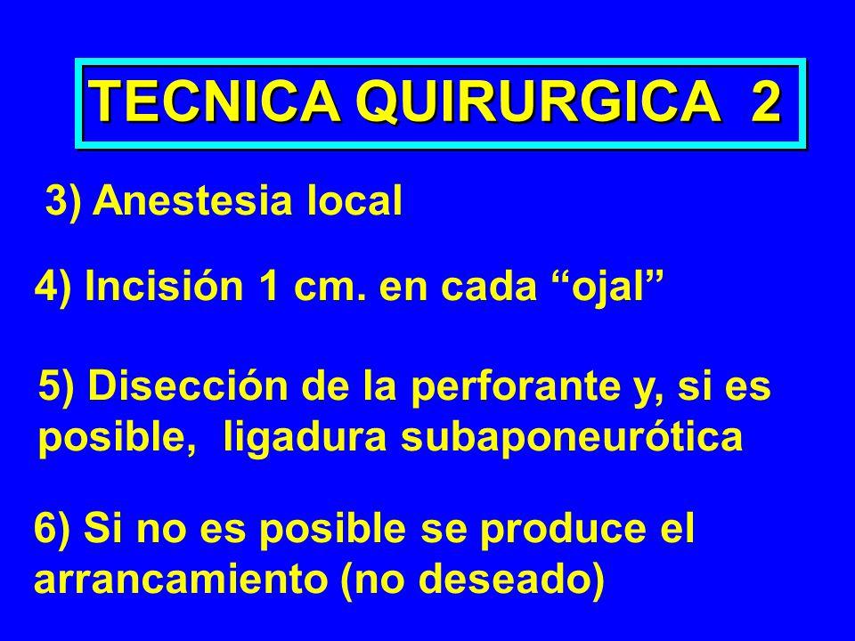 TECNICA QUIRURGICA 2 3) Anestesia local 4) Incisión 1 cm. en cada ojal 5) Disección de la perforante y, si es posible, ligadura subaponeurótica 6) Si