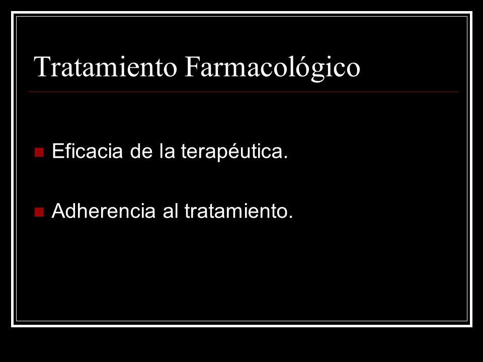 Tratamiento Farmacológico Eficacia de la terapéutica. Adherencia al tratamiento.