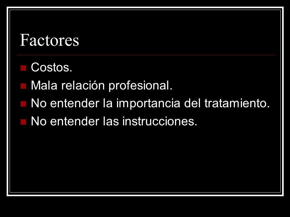 Factores Costos. Mala relación profesional. No entender la importancia del tratamiento. No entender las instrucciones.