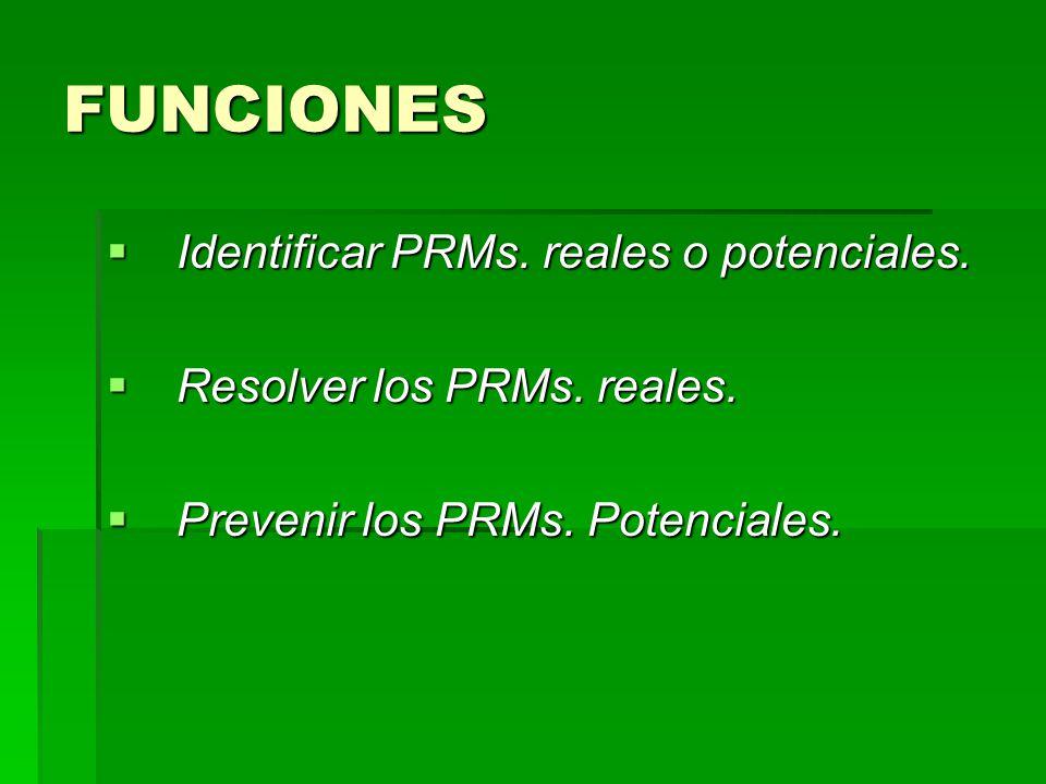 FUNCIONES Identificar PRMs. reales o potenciales. Identificar PRMs. reales o potenciales. Resolver los PRMs. reales. Resolver los PRMs. reales. Preven