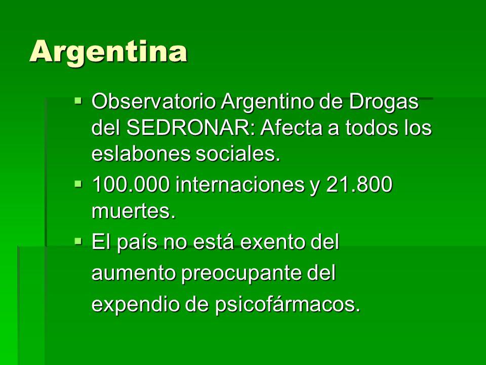 Argentina Observatorio Argentino de Drogas del SEDRONAR: Afecta a todos los eslabones sociales. Observatorio Argentino de Drogas del SEDRONAR: Afecta